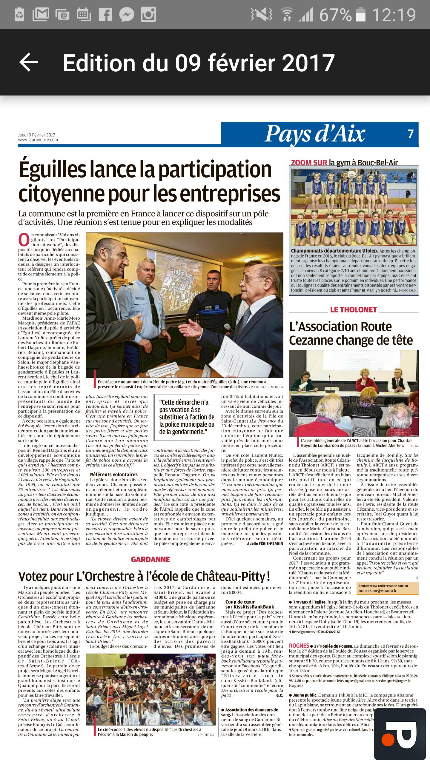Article La Provence : Participation citoyenne sur le pôle d'activité d'Eguilles